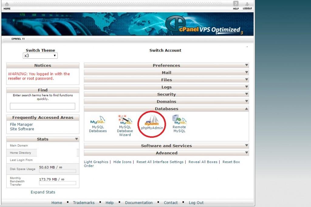 Wordpress PHPMyAdmin Database