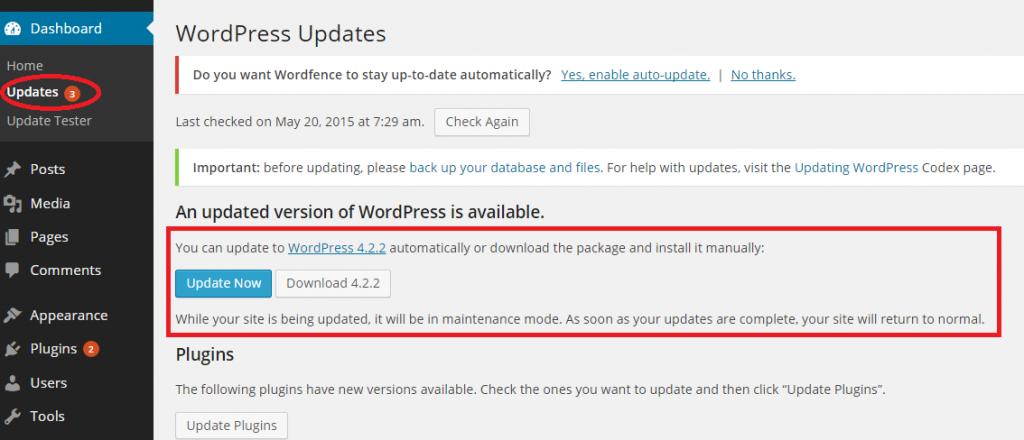 Wordpress Version Update Showing
